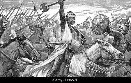 Charles Martel (c688-741) 'The Hammer' using a battle axe while repulsing the Moors at the Battle of Tours, near - Stock Photo