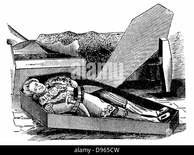 Daniel Boone (1735-1820) American pioneer and Indian fighter. Woodcut purporting to show him trying out his coffin - Stock Photo