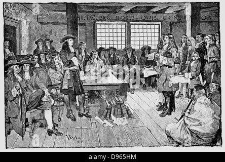 William Penn (1644-1718) English Quaker and colonialist, founder of Pennsylvania. Penn in conference with Colonialists, - Stock Photo