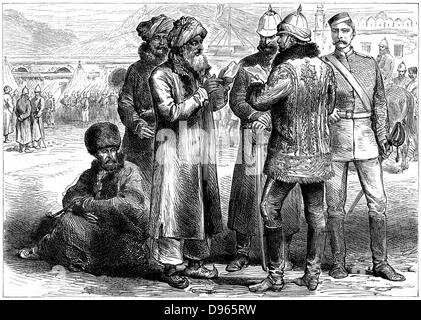 Second Anglo-Afghan War (1878-1880): General Frederick Roberts (1832-1914) at his headquarters at Sherpore Cantonments, - Stock Photo