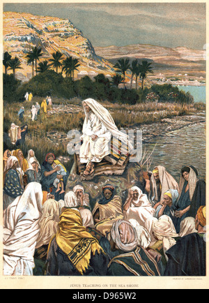 Jesus teaching on the sea shore. Bible, New Testament, St Matthew Ch 12. From J.J. Tissot 'The Life of our Saviour - Stock Photo