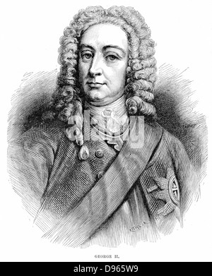 George II (1683-1760) King of Great Britain and Ireland and Elector of Hanover from 1727. Wood engraving. - Stock Photo