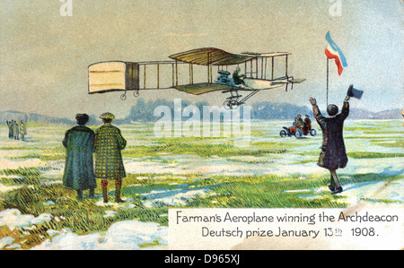 Henri Farman (1874-1958), French aviator and aircraft constructor, in his Voisin biplane winning Archdeacon Deutsch - Stock Photo
