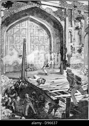 Indian Mutiny (Sepoy Mutiny) 1857-1859: Siege of Delhi - engineers blowing up the Cashmere Gate so that Colonel - Stock Photo