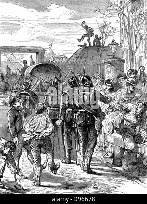 Franco-Prussian War 1870-1871: Germans leaving Paris. Wood engraving c1880