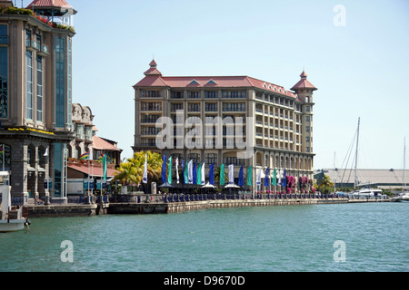 Labourdonnais Hotel on the waterfront in Port Louis, Mauritius - Stock Photo