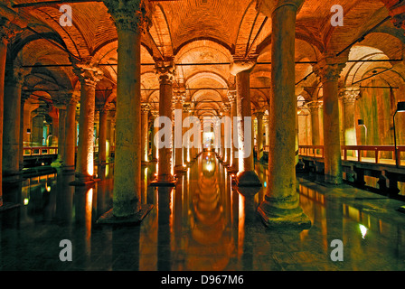 ISTANBUL, TURKEY. The underground Basilica Cistern (Yerebatan Sarnici) in the Sultanahmet district of the city. - Stock Photo