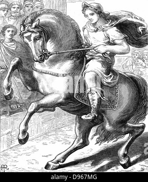 Alexander the Great (Alexander III of Macedon) 356-323 BC riding Bucephelus his favourite horse. Woodcut c1873. - Stock Photo