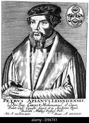 Peter Apian (Petrus Apianus 1495-1552) German mathematician and astronomer. Copperplate engraving - Stock Photo