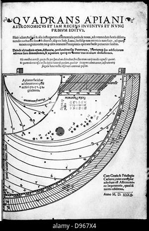Peter Apian ( Petrus Apianus 1495-1552) German mathematician and astronomer. Title page of his 'Quadrans Apiani', - Stock Photo