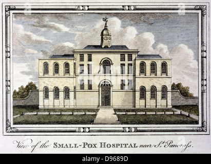 Smallpox Hospital, St Pancras, London c1800. Fever (isolation) hospitals for highly infectious diseases built outside - Stock Photo