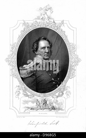 Winfield Scott (1786-1866). American soldier. Chief of Command of the army 1841-1861. Engraving - Stock Photo