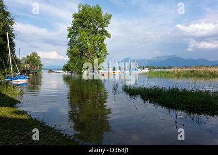 Chiemsee Flood June 2013, Flooded harbour, Harras Prien, Chiemgau, Upper Bavaria Germany Europe - Stock Photo