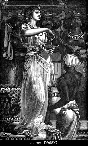 Cleopatra VII (69-30 BC) queen of Egypt, last  ruler of the Ptolemaic dynasty, dissolving pearls in wine. Illustration - Stock Photo