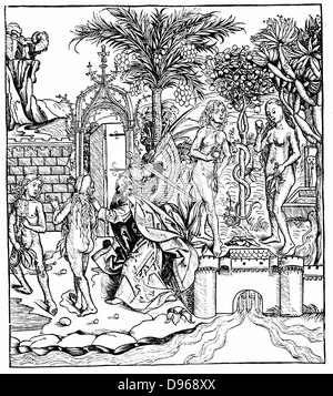 Adam and Eve, tempted by the Serpent, eat from the Tree of Knowledge and are expelled from the Garden of Eden by - Stock Photo