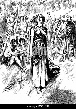 Boudicca (Boadicea) lst century British queen of Iceni, rallying her troops. Finally overwhelmed by Romans, Boudicca - Stock Photo