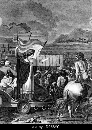 Boudicca (Boadicea) lst century British queen of Iceni, standing in her chariot with her weeping, dishonoured daughters - Stock Photo