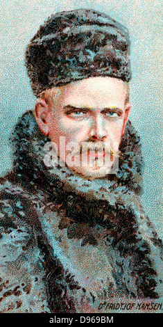 Fridtjof Nansen (1861-1930) Norwegian Arctic explorer, scientist and diplomat. Nobel prize for peace 1920. Chromolithograph - Stock Photo