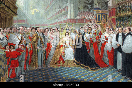 Victoria (1819-1901) queen of England from 1837 and Empress of India from 1876. Coronation in Westminster Abbey, - Stock Photo