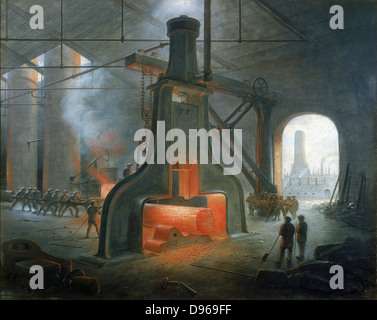James Nasmyth's steam hammer erected in his foundry near Manchester in 1832. Painting by Nasmyth. - Stock Photo