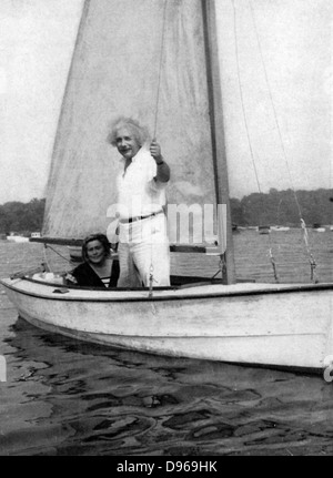 Albert Einstein (1879-1955) German-Swiss mathematician. Einstein sailing. - Stock Photo