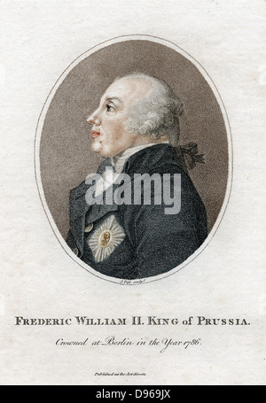 Frederick William II (1744-1797) King of Prussia from 1786. Nephew of Frederick II, the Great. Stipple engraving - Stock Photo
