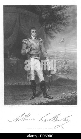 Arthur Wellesley, Duke of Wellington (1769-1852) English soldier and stateman, while serving in India. Engraving - Stock Photo