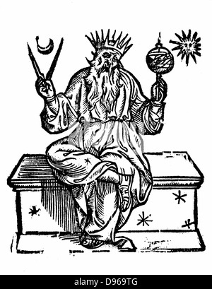 Ptolemy (active 150 AD) Claudius of Ptolemaeus, Alexandrian Greek astronomer and geographer. Woodcut of 1618 showing - Stock Photo