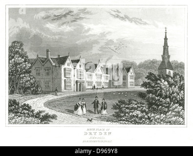 John Dryden (1631-1700)  English poet. Dryden's birthplace at Aldwinkle, Northamptonshire. Engraving - Stock Photo