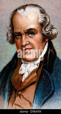 James Watt (1736-1819) Scottish engineer and inventor. Condensing steam engine. Chromolithograph - Stock Photo