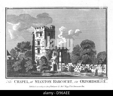 Alexander Pope (1688-1744) English poet. Chapel and Pope's Tower at Staton Harcurt, Oxfordshire. Copperplate engraving. - Stock Photo