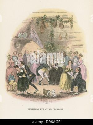 Christmas Eve at Mr Wardle's. Mr Pickwick kisses a lady under the mistletoe bough. Illustration by 'Phiz' (Hablot - Stock Photo
