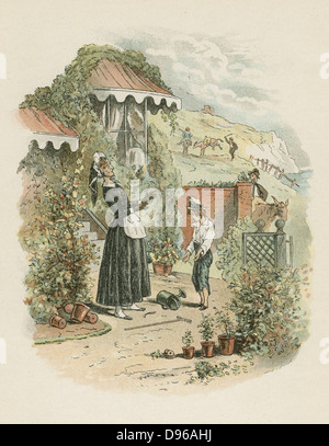 Orphaned David Copperfield introduces himself to his aunt Betsy Trotwood. From Charles Dickens 'David Copperfield' - Stock Photo