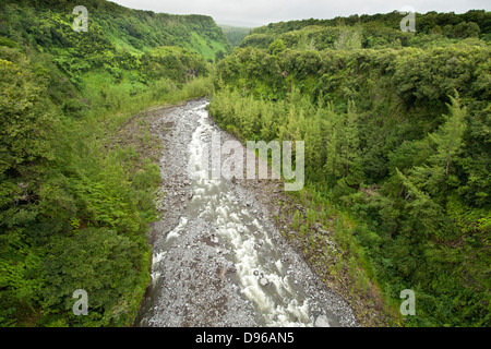 River on the east coast of the French island of Reunion in the Indian Ocean. - Stock Photo