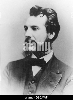 Alexander Graham Bell (1847-1922) Scottish-born American inventor; patented telephone 1876. Photograph of Bell as - Stock Photo