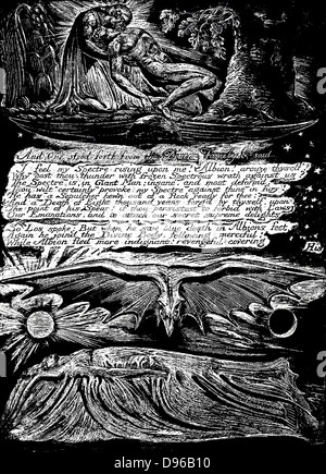 William Blake (1757-1827) English mystic, poet, painter and engraver. Blake's own engraving for plate for his poem - Stock Photo