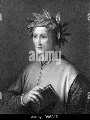 Dante Alighieri (1265-1321)  Italian poet. Portrait engraving - Stock Photo