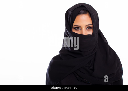 portrait of young Muslim woman on white - Stock Photo