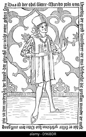 Marco Polo (1254-1324) Venetian merchant and traveller. Undated woodcut. - Stock Photo