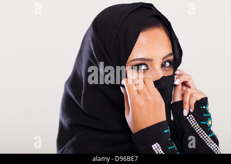 mysterious middle eastern woman closeup portrait - Stock Photo