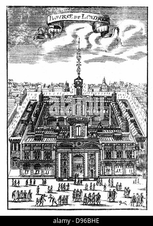 The Royal Exchange, London. This is the second building which replaced the first which was destroyed in the Fire - Stock Photo