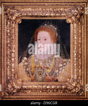 Elizabeth I (1533-1603) Queen of England and Ireland from 1558, last Tudor monarch. Anonymous portrait c1580. - Stock Photo