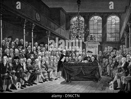 William Pitt the Younger (1759-1806) addressing the House of Commons, 1793. Engraving after painting by Karl A Hickel. - Stock Photo