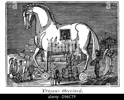 Trojan Horse: Greek raiding party secreting themselves in the great wooden horse, 13th or 12th century BC. From - Stock Photo