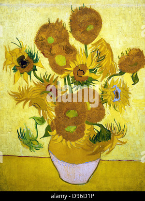 Painting of Sunflowers, 1888. By Vincent van Gogh. Oil on Canvas. - Stock Photo