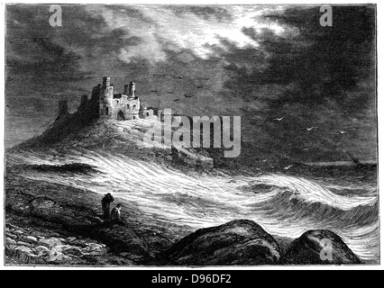 Dunstanburgh Castle on the coast of Northumberland, which changed hands a number of times during the Wars of the - Stock Photo