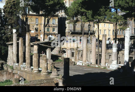 Largo di Torre Argentina, a square in Rome, Italy, that contains the remains of four Republican Roman temples, and - Stock Photo