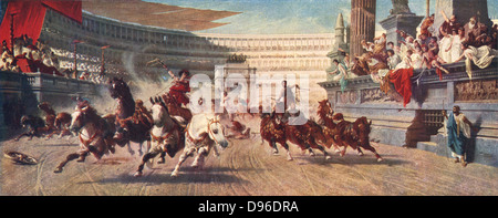 Chariot race in Ancient Rome, late 19th century illustration. Bread and circuses were two methods used to keep Emperors - Stock Photo