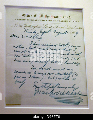 Letter from Charles Dickens to Mrs Stirling (5th August 1869). This unpublished letter from Dickens' own pen responds - Stock Photo