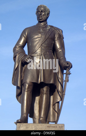 Statue of Major General Sir Henry Havelock K.C.B. by William Behnes. Located in Trafalgar Square, London. - Stock Photo